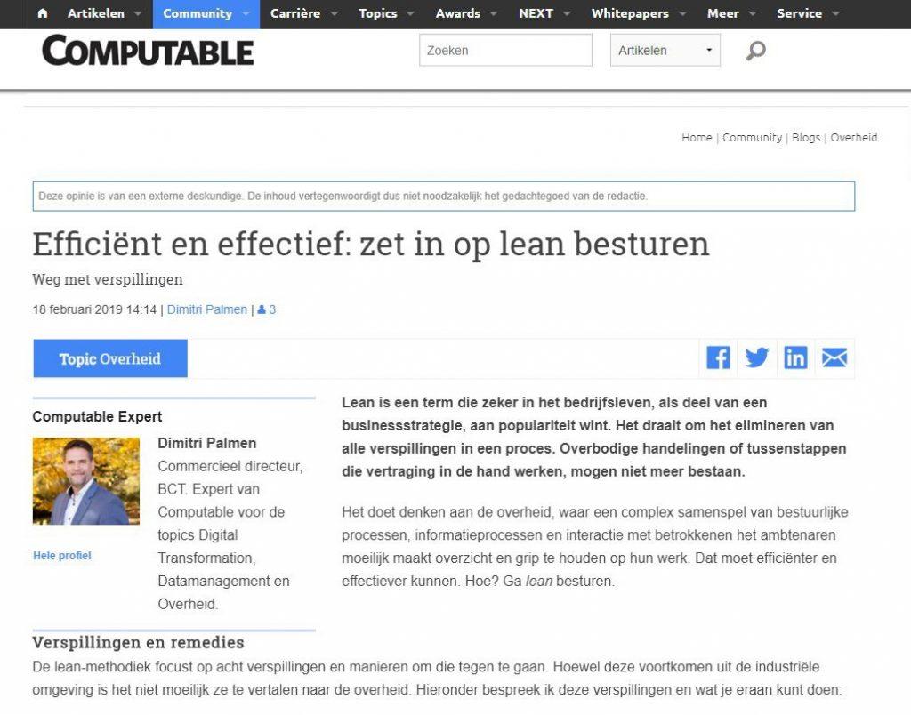 BCT-publicatie over lean besturen op Computable.nl