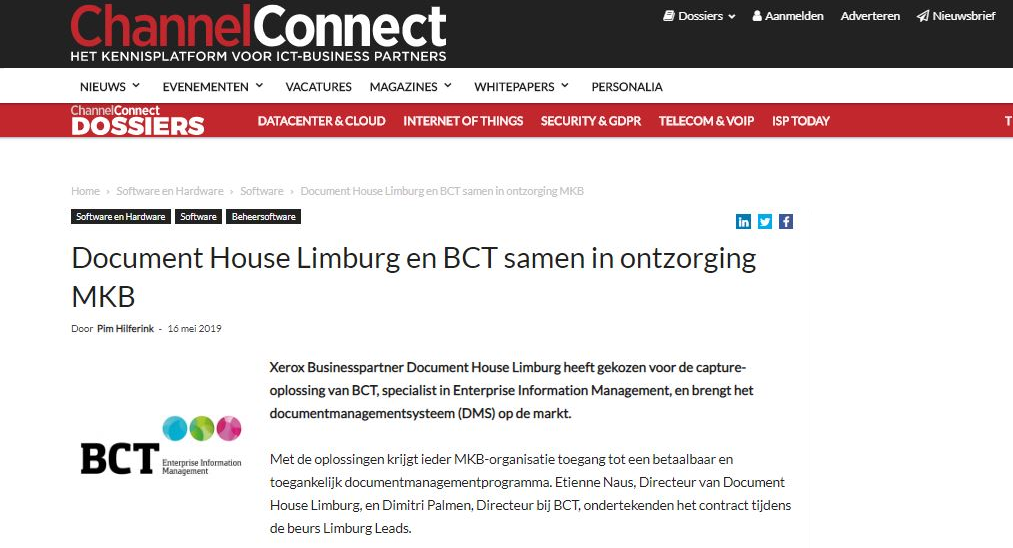 Document House Limburg en BCT samen in ontzorging MKB