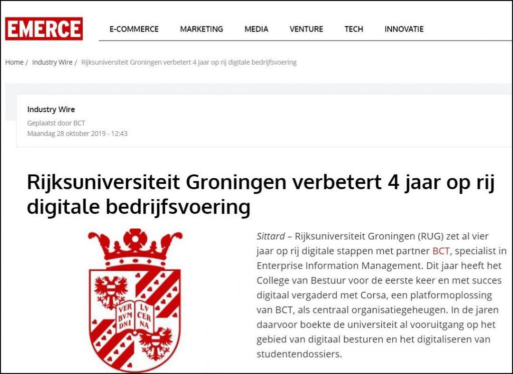 Rijksuniversiteit Groningen verbetert 4 jaar op rij digitale bedrijfsvoering