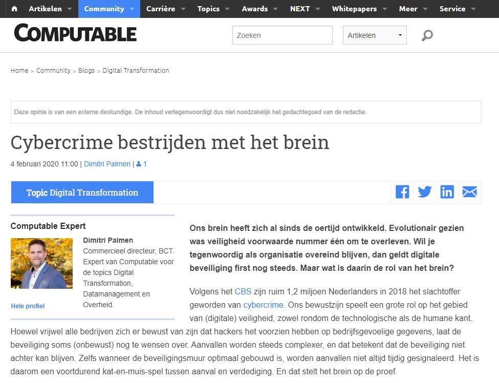 Publicatie cybercrime bestreiden met het brein