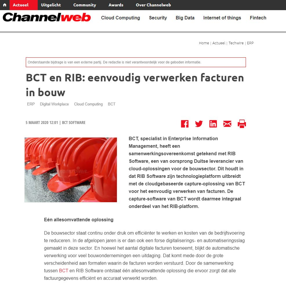 Publicatie Channelweb: partnership BCT en RIB