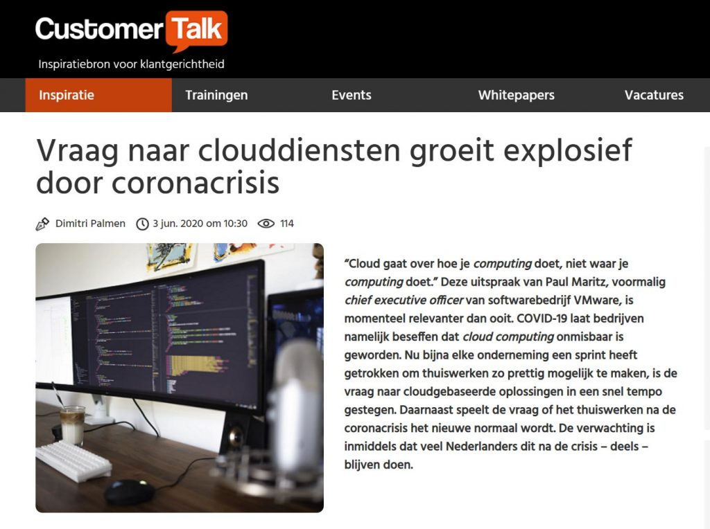 Vraag naar clouddiensten groeit explosief door coronacrisis