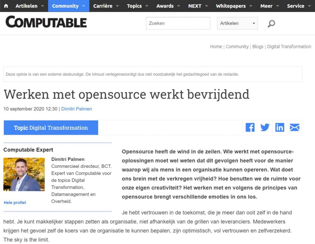 BCT-publicatie over open source